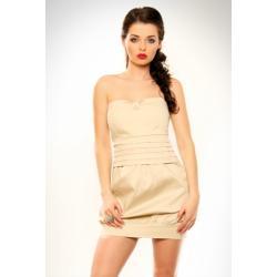 3220-2 Sukienka zakładana na piersi, typ bombka - kremowy...