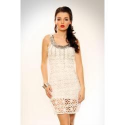 3215-2 Sukienka w całości wykonana z ciekawych splotów + tunika na ramiączkach - biały...