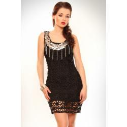 3215-1 Sukienka w całości wykonana z ciekawych splotów + tunika na ramiączkach - czarny...