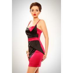 3202-3 Szyfonowa sukienka z usztywnianymi miseczkami - ciemny róż...