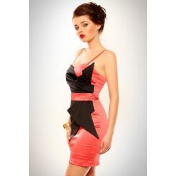 3202-2 Szyfonowa sukienka z usztywnianymi miseczkami - malina...