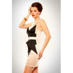 3202-1 Szyfonowa sukienka z usztywnianymi miseczkami - kremowy...