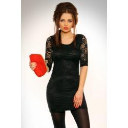 3101-2 Koronkowa sukienka z rękawem 3/4 - czarna...