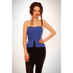 3116-2 Sukienka z zakładkami bez ramiączek - niebieski...