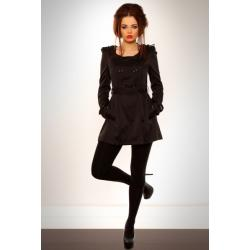 3105-4 Elegancki płaszcz z paskiem - czarny...