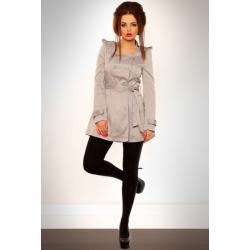 3105-2 Elegancki płaszcz z paskiem - szary...