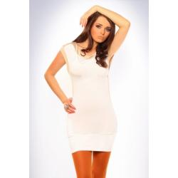 3018-4 Tunika/sukienka bez rękawów o żywych barwach - biały...
