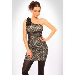 3004-2 Sukienka zakładana na jedno ramię pokryta koronką - kremowy...