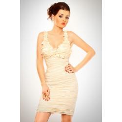 3002-2 Sukienka na ramiączkach z ozdobnymi kwiatkami na dekolcie- kremowy...