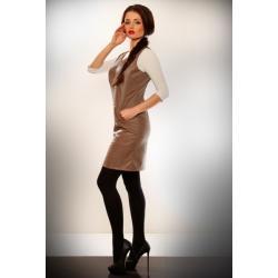 2903-1 Sukienka bez rękawów z ekoskóry z kieszonkami-jasny brąz...