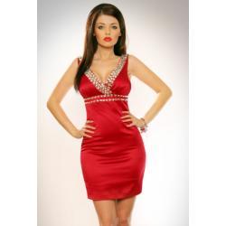 1203-7 Sukienka na ramiączkach z kamieni z lekko usztywnianymi miseczkami - czerwona...