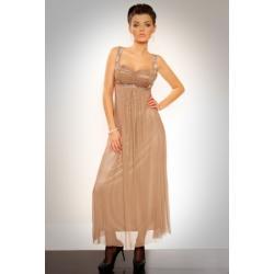 2811-2 Długa suknia z cyrkoniami pod biustem i na ramiączkach - brąz...