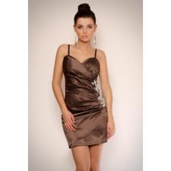 1108-7 Sukienka na ramiączkach z półkwiatem z kamieni na boku - czekoladowy...