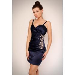 1108-6 Sukienka na ramiączkach z półkwiatem z kamieni na boku - grantaowy...
