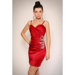 1108-5 Sukienka na ramiączkach z półkwiatem z kamieni na boku - bordowy...