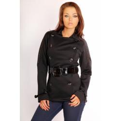 2513-1 Dwurzędowy płaszczyk z materiału z paskiem REDIAL - czarny...