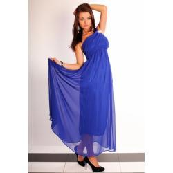 2506-3 Długa tiulowa suknia na jedno ramię - niebieski...