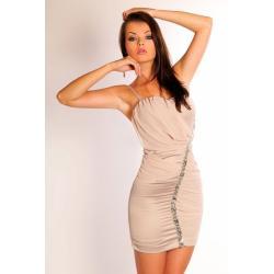 2505-4 Sukienka na ramiączkach z delikatnym tiulem, pas srebrnych kamieni wzdłuż - jasny brąz...