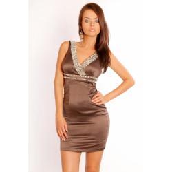 1203-5 Sukienka na ramiączkach z kamieni z lekko usztywnianymi miseczkami - brąz...