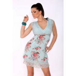 2008-2 Zwiewna sukienka z koronką - niebieski...
