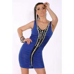 1612-3 Sukienka na szerokich ramiączkach Redial - niebieski...