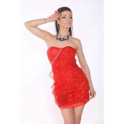 1503-2 Sukienka bez ramiączek z falbankami - czerwony...