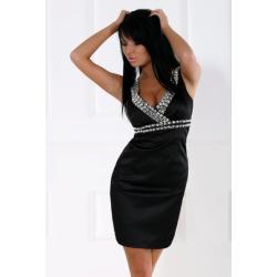 1203-1 Sukienka na ramiączkach z kamieni z lekko usztywnianymi miseczkami - czarny...