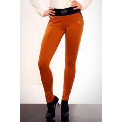 2814-3 Spodnie rurki z bardzo dobrego materiału ze skórzanymi wstawkami - musztardowy...