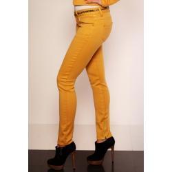 2607-3 Spodnie rurki REDIAL z suwaczkami na nogawkach + pasek - musztardowy...