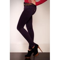 2607-2 Spodnie rurki REDIAL z suwaczkami na nogawkach + pasek - fiolet...
