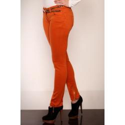 2607-1 Spodnie rurki REDIAL z suwaczkami na nogawkach + pasek - pomarańczowy...
