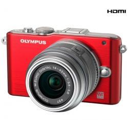 PEN E-PL3 czerwony + obiektyw M.Zuiko Digital 14-42 mm II...