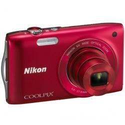 S3200 czerwony + Akumulator litowy  ENEL19 kompatybilny  z Nikon EN-EL19 + Etui Pix Ultra Compact 9,5 x 2,7 x 6,5 cm + Karta pam...