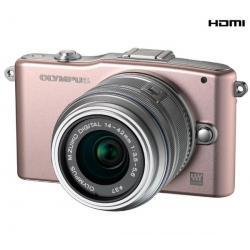 PEN E-PM1 różowy + obiektyw M.Zuiko Digital 14-42mm II + Karta pamięci SDHC 8 GB + Pół-twarde etui SLM-C200 czarny...