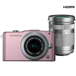 PEN E-PM1 różowy + obiektyw M.Zuiko Digital 14-42mm II + obiektyw M.Zuiko Digital ED 40-150mm + Pół-twarde etui SLM-C200 czarny ...