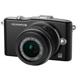 PEN E-PM1 czarny + obiektyw M.Zuiko Digital 14-42mm II + Karta pamięci SDHC 16 GB + Pół-twarde etui SLM-C200 czarny...