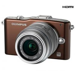 PEN E-PM1 czekoladowy + obiektyw M.Zuiko Digital 14-42mm II + Pół-twarde etui SLM-C200 czarny + Karta pamięci SDHC 8 GB...