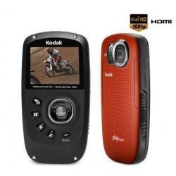 Mini-kamera HD Playsport II Zx5 pomarańczowa + Karta pamięci SDHC 4 GB  + Opaska Playsport...