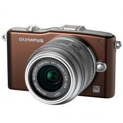 PEN E-PM1 czekoladowy + obiektyw M.Zuiko Digital 14-42mm II + Pół-twarde etui SLM-C200 czarny + Karta pamięci SDHC 16 GB...