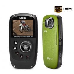 Mini-kamera HD Playsport II Zx5 zielona + Ładowarka USB Black Velvet + Opaska Playsport + Karta pamięci SDHC 4 GB...