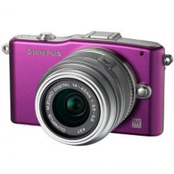 PEN E-PM1 fioletowy + obiektyw M.Zuiko Digital 14-42mm II + Pół-twarde etui SLM-C200 czarny + Karta pamięci SDHC 16 GB...