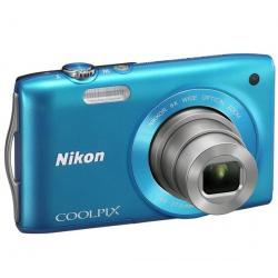S3200 niebieski + Akumulator litowy  ENEL19 kompatybilny  z Nikon EN-EL19 + Karta pamięci SDHC 4 GB  + Etui Pix Ultra Compact 9,...