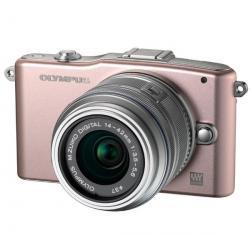 PEN E-PM1 różowy + obiektyw M.Zuiko Digital 14-42mm II + Pół-twarde etui SLM-C200 czarny + Karta pamięci SDHC 16 GB...
