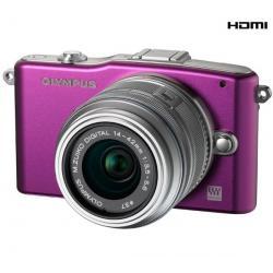 PEN E-PM1 fioletowy + obiektyw M.Zuiko Digital 14-42mm II + Karta pamięci SDHC 8 GB + Pół-twarde etui SLM-C200 czarny...