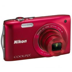 S3300 czerwony + Akumulator litowy  ENEL19 kompatybilny  z Nikon EN-EL19 + Etui Pix Ultra Compact 9,5 x 2,7 x 6,5 cm + Karta pam...