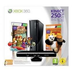 Konsola Xbox 360 S - 250 GB +sensor Kinect + Kung Fu Panda 2 + Bezprzewodowy gamepad Xbox 360 - czarny...
