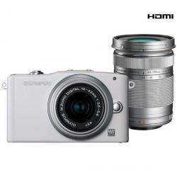 PEN E-PM1 biały + obiektyw M.Zuiko Digital 14-42mm II + obiektyw M.Zuiko Digital ED 40-150mm...