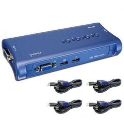 Zestaw switch KVM na 4 porty USB TK-407K + 4 dołączone kable...