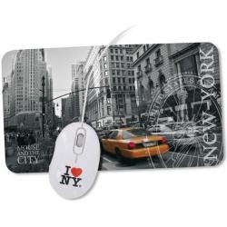 Zestaw New York, Mouse & the City: mysz optyczna USB 2.0 + podkładka + Kabel USB A męski/A żeński 2 metry - MC922AMF-2M...