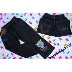 *OWIECZKA*spodnie jeans hafty 98-104(3-4L) NOWE